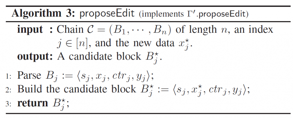 Algorithm 3: proposeEdit (implements r' .proposeEdit)  input : Chain C = (Bl,  , Bn) of length n, an index  j e [n], and the new data x*  1:  2:  3:  output: A candidate block  Parse BJ <  sj, xj, ctrj, yj);  Build the candidate block B*  return Bi•,  (s • x* ctrj,yj);