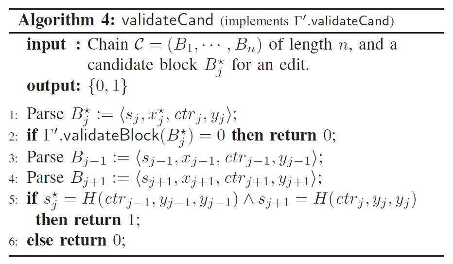 Algorithm 4: validateCand (implements r'.vaIidateCand)  input : Chain C = (Bl, • , Bn) of length n, and a  candidate block Bt for an edit.  output: {0, 1}  l: Parse = <  s • ctrj,yj);  if F'.validateBlock(Bt) = 0 then return 0;  2:  sj—l, x j —1, ctrj—l' Yj—l);  3: Parse By-I  (sj+l, Xj+l, ctrj+l, Y) +1);  4: Parse Bj+l  if = H (ctrj—l, yj_l, yj_l) A s j +1 = H (ctrj,yj, yj)  5:  then return  1;  else return 0;  6:
