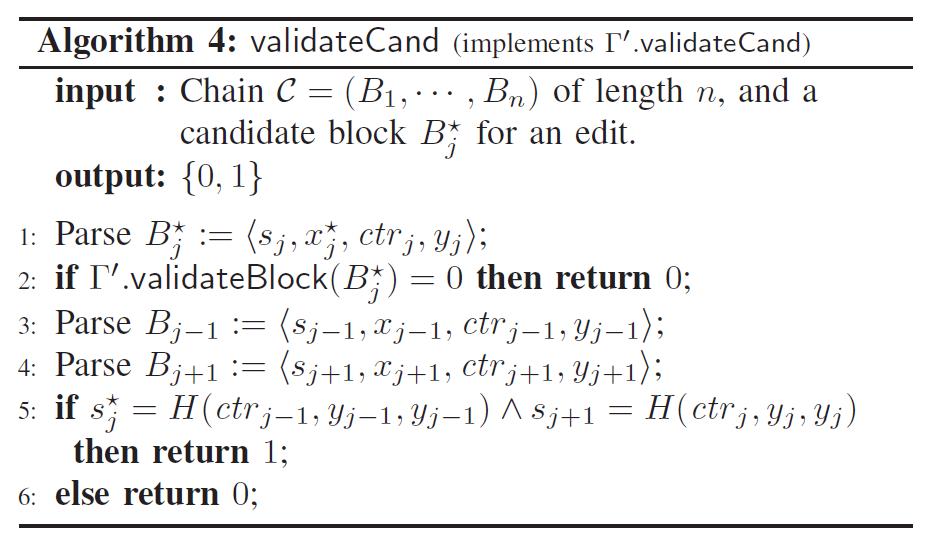 Algorithm 4: validateCand (implements r'.vaIidateCand)  input : Chain C = (Bl, • , Bn) of length n, and a  candidate block Bt for an edit.  output: {0, 1}  l: Parse = <  s • ctrj,yj);  if F'.validateBlock(Bt) = 0 then return 0;  2:  sj—l, x j —1, ctrj—l' Yj—l);  3: Parse By-I  (sj+l, Xj+l, ctrj+l, Y) +1);  4: Parse Bj+l  if = H (ctrj—l, yj_l, yj_l) A s j +1 = H (ctrj,yj, yj)  5:  then return  1;  else return 0;  6: