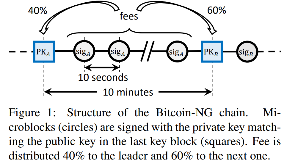 fees  - El-..-O.--Ö.--7//..-O---E]---O -  10 seconds  10 m i n  Figure 1: Structure of the Bitcoin-NG chain. Mi-  croblocks (circles) are signed with the private key match-  ing the public key in the last key block (squares). Fee is  distributed 40% to the leader and 60% to the next one.